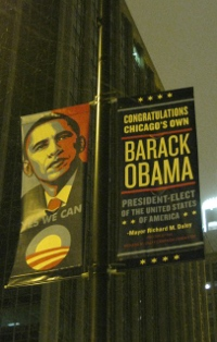 Barack Obama banner in downtown Chicago