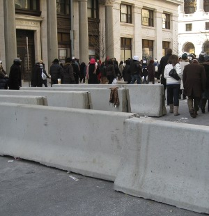 Concrete barricades in downtown DC