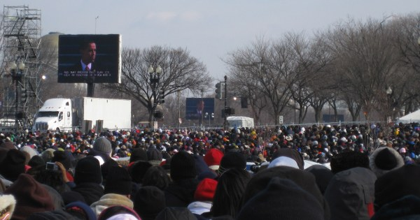 Crowds watch Obama give his inaugural address