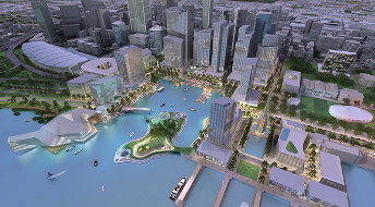 Artist's impression of the Barnett government waterfront plan; Creative Commons licence does not apply to this image.