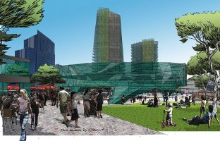 Artist's impression of the Northbridge Link plaza; Creative Commons licence does not apply to this image.