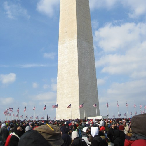 Crowds by the Washington Monument