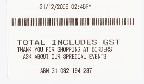 Typing error in my receipt from Borders