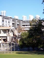 The new chemistry building behind the half-demolished old one