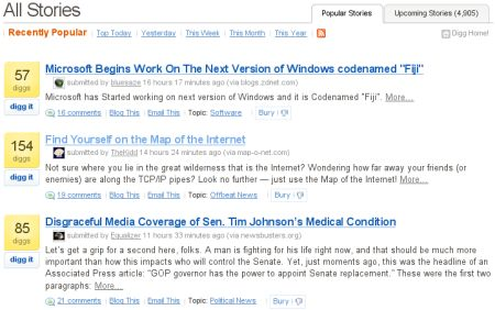 Map-o-Net.com on Digg front page
