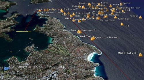 Tracking the Sydney to Hobart in Google Earth; Creative Commons licence doesn't apply to this image