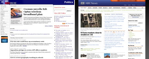 Screenshots of the old and new ABC News sites