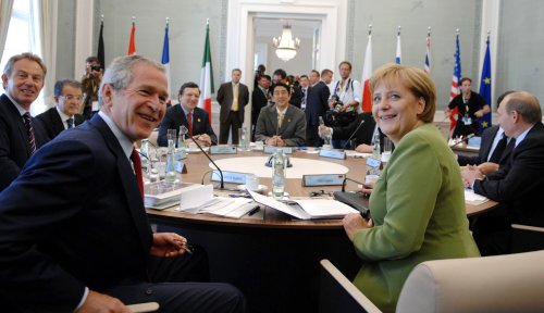 Angela Merkel and George Bush at the G8 meeting in Germany; Creative Commons licence does not apply to this image