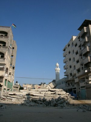 Rubble and apartment buildings in Gaza City, 2004