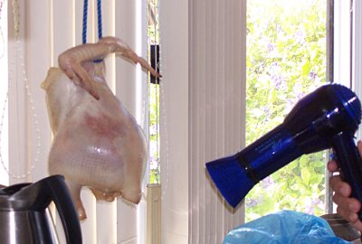 Drying a chicken, with a hairdryer