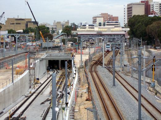 An ugly Perth Rail Yard with lots of construction work