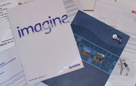 A pile of documents including Telstra's 2007 Shareholder Update and Fortescue Metals' 2007 Annual Report