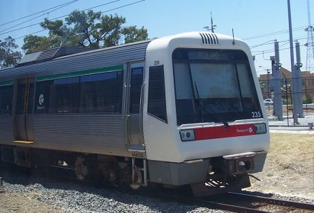 A train at East Perth Station
