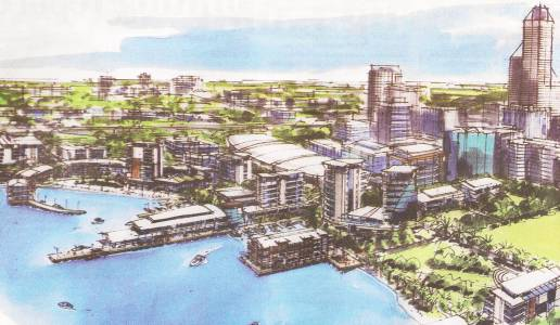 Artist's drawing of proposed western foreshore development; Creative Commons licence doesn't apply to this image