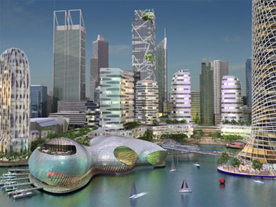 Artist's impression of the proposed Perth foreshore development; Creative Commons licence does not apply to this image.