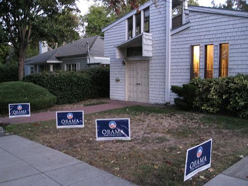 Four Barack Obama signs in Palo Alto, California