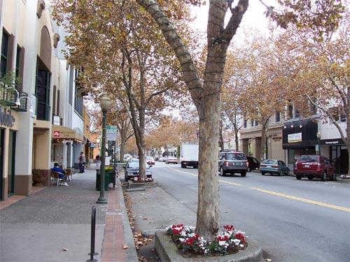 University Avenue, Palo Alto, in autumn 2007